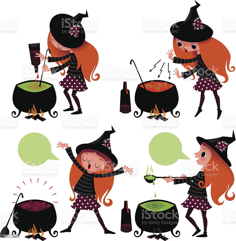 Halloween. Witch Cooking the Potion. royalty-free stock vector art