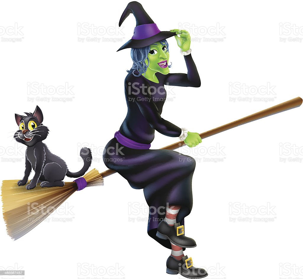Halloween Witch on Broomstick with Cat royalty-free stock vector art