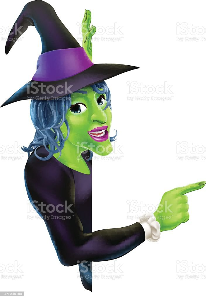 Halloween Witch Pointing royalty-free stock vector art