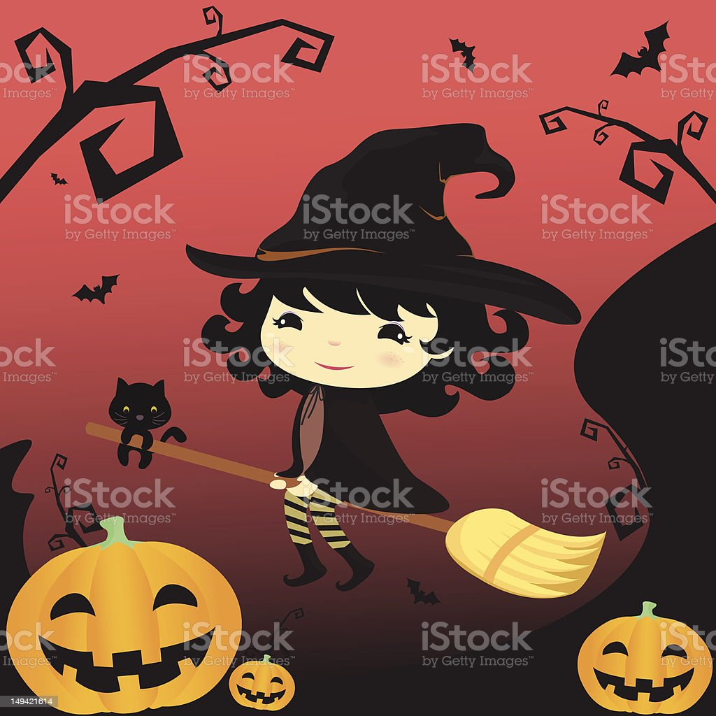 Halloween witch riding with a  broom royalty-free stock vector art