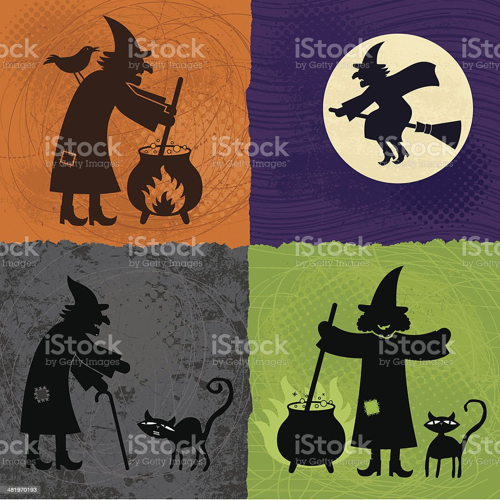 Halloween Witches vector art illustration