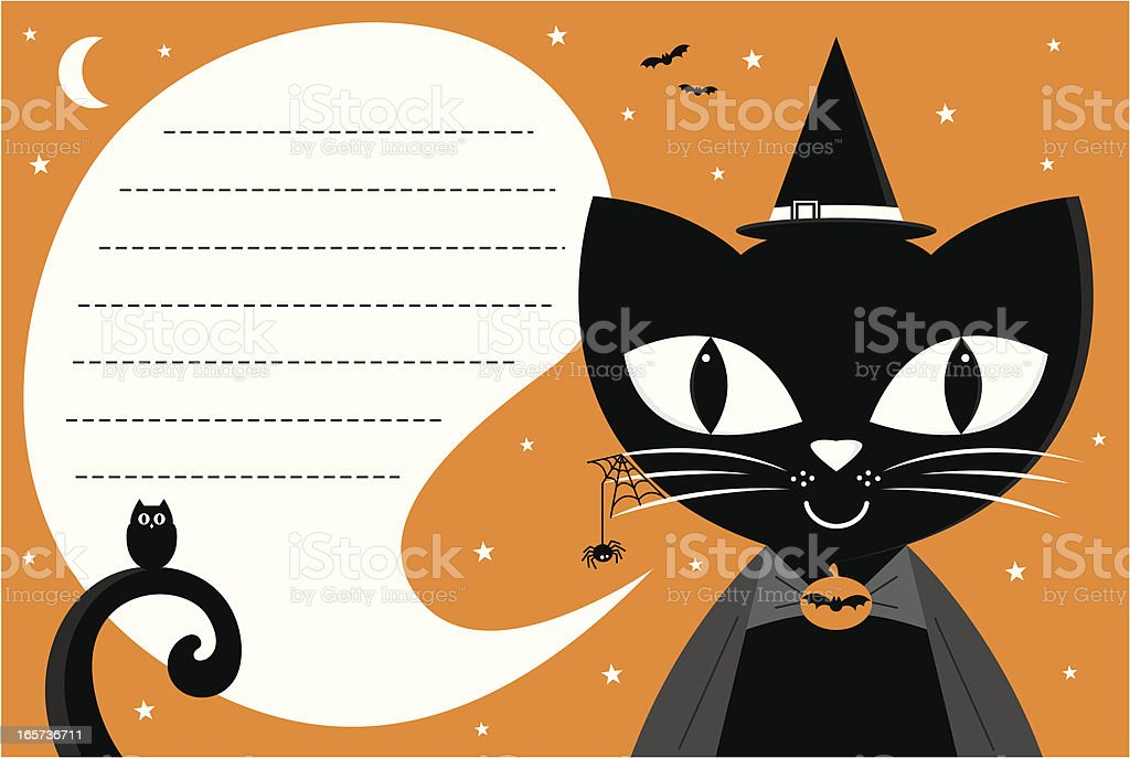 Halloween Witch's Cat Invite royalty-free stock vector art