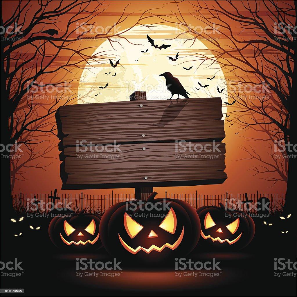 Halloween Wooden Sign vector art illustration