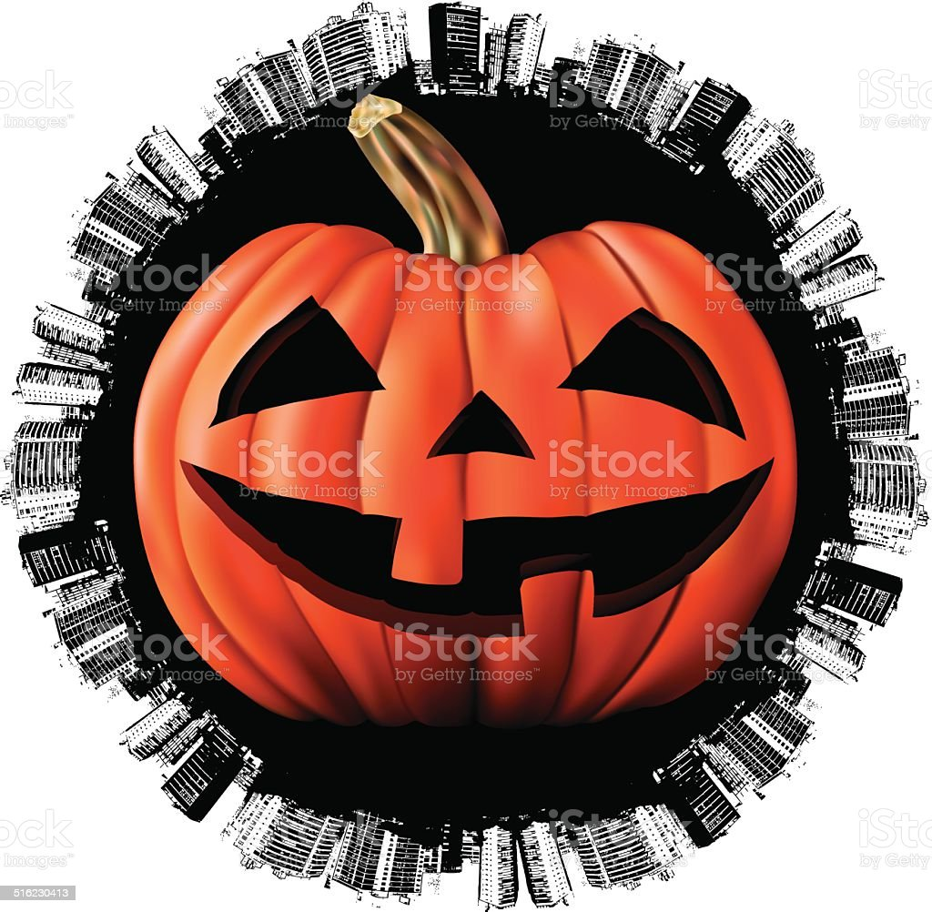 halloween world day with angry pumpkin vector art illustration