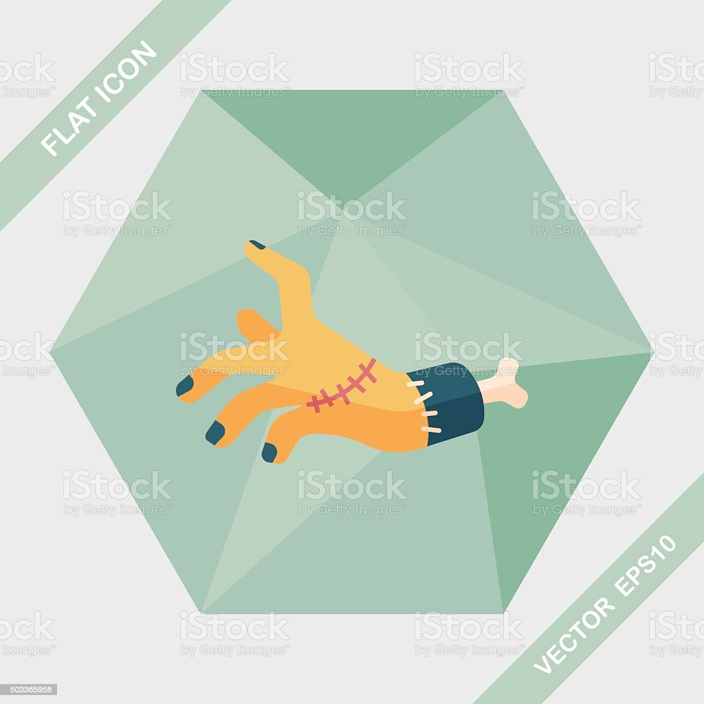 Halloween zombie hand flat icon with long shadow,eps10 vector art illustration
