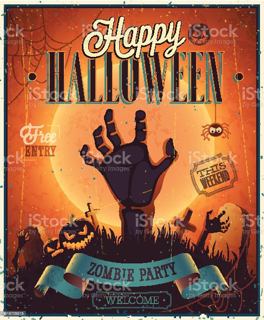 Halloween Zombie Party Poster. vector art illustration