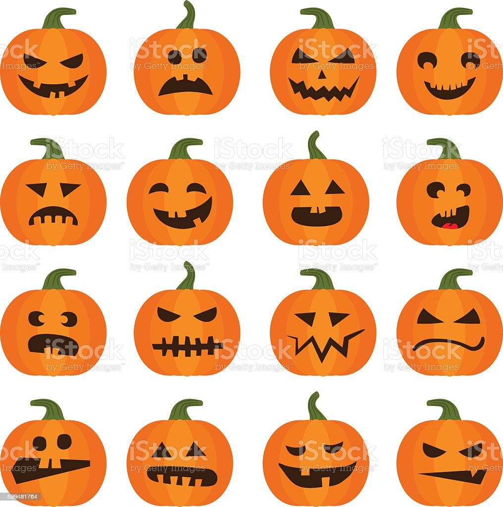 Halloweens pumpkin icons set vector art illustration