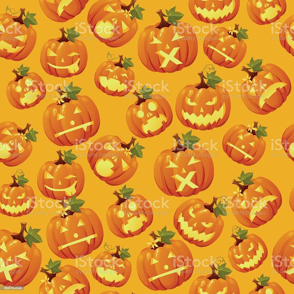 Haloween background, carved pumpkin faces vector art illustration