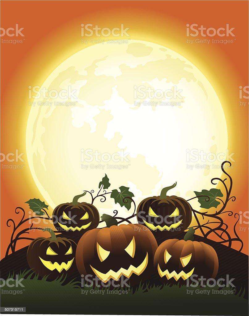 Haloween Pumpkins in the Moonlight royalty-free stock vector art