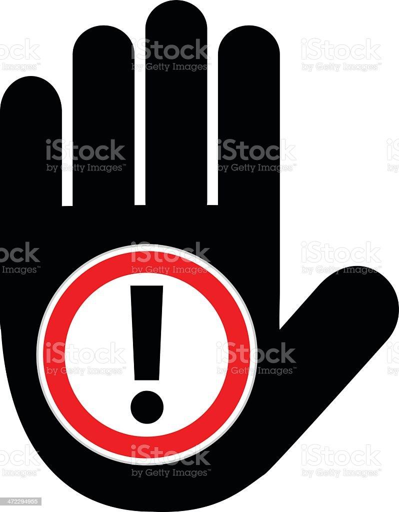 Halt Hand Caution Sign royalty-free stock vector art
