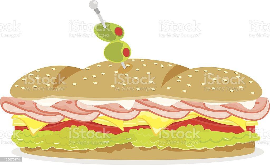 Ham and Cheese Sandwich vector art illustration