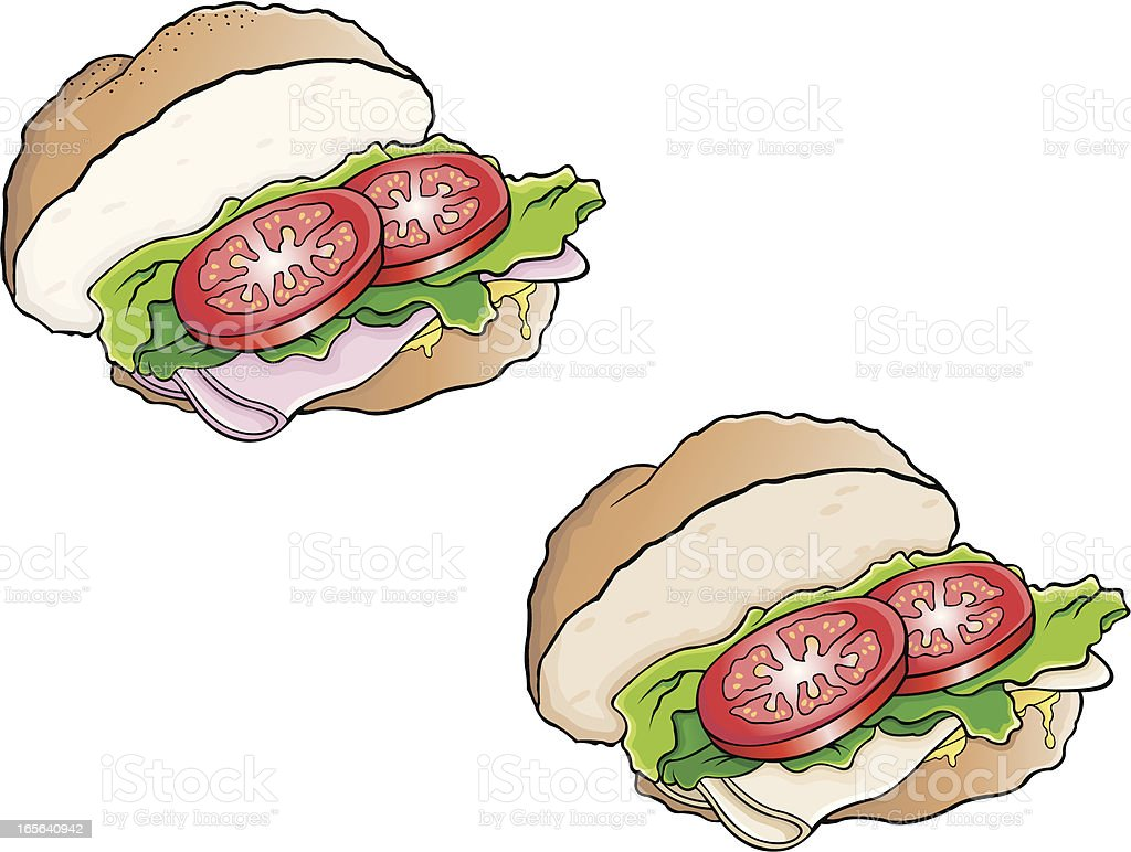 Ham and turkey keiser sandwich vector art illustration