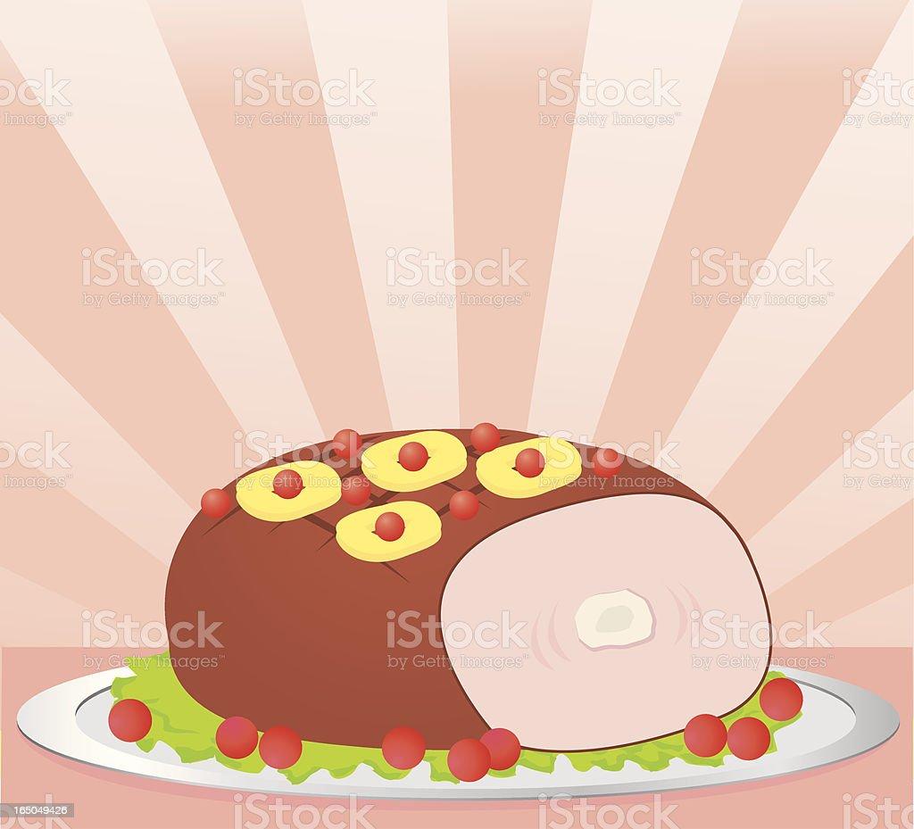 Ham Dinner vector art illustration