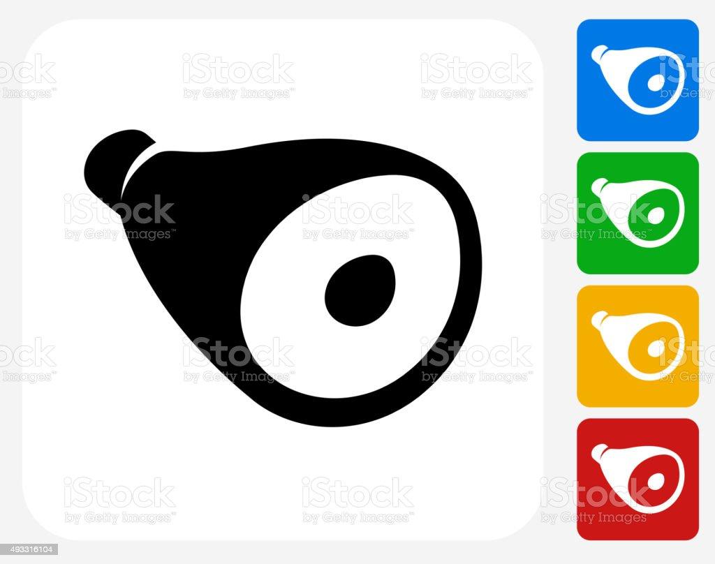 Ham Icon Flat Graphic Design vector art illustration