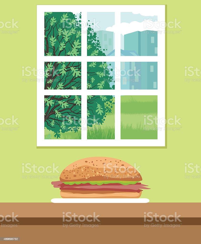 Ham Sandwich On A Bun Sitting On A Counter vector art illustration