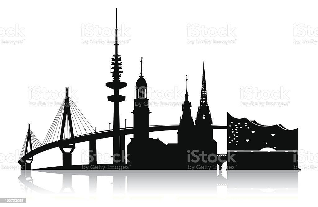 hamburg - skyline 2011 vector art illustration