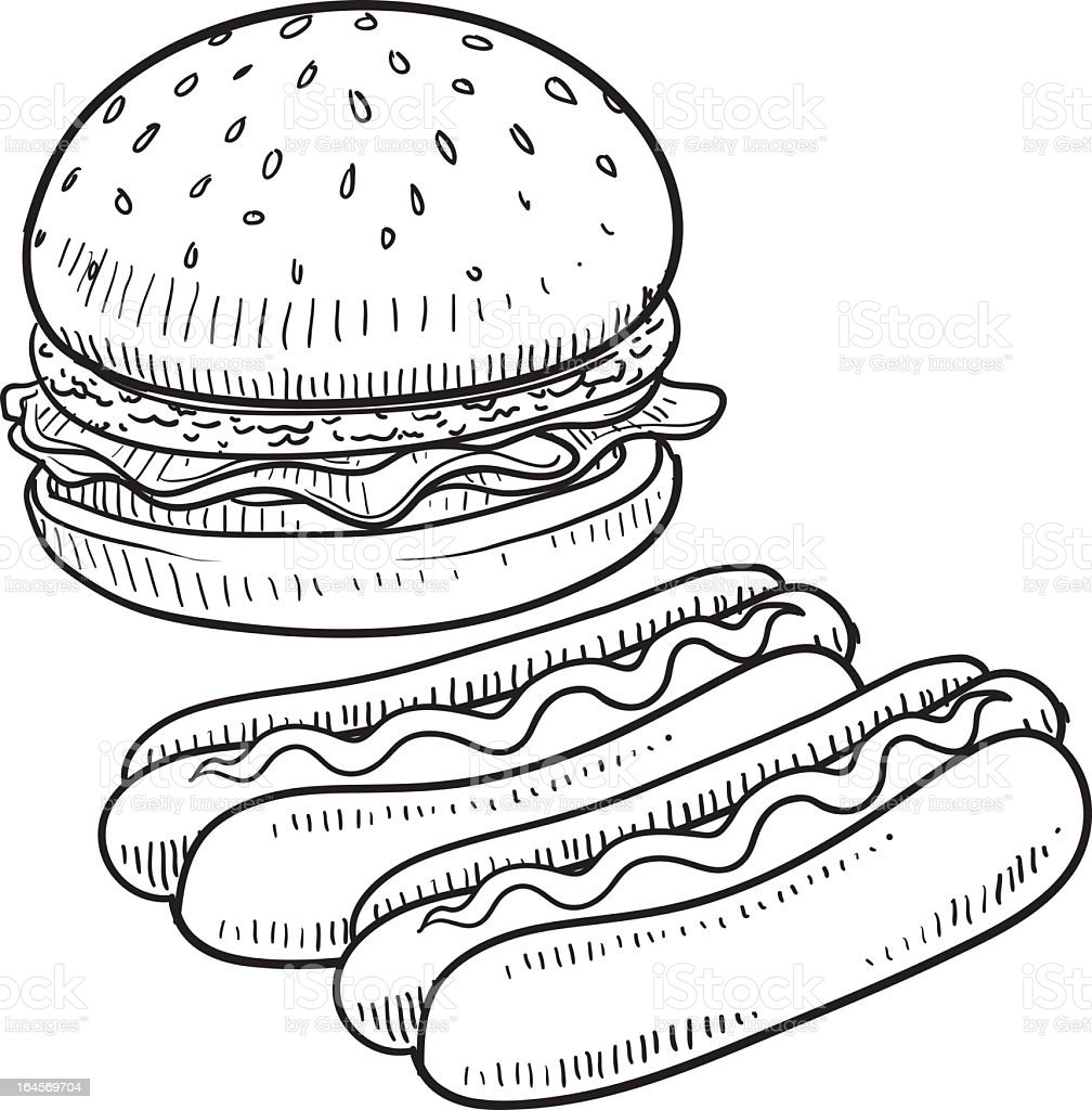 hamburger und hot dogs vektorskizze vektor illustration 164569704