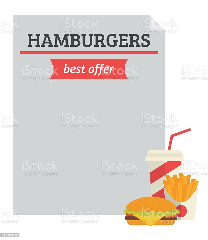 Hamburger best offer template vector art illustration