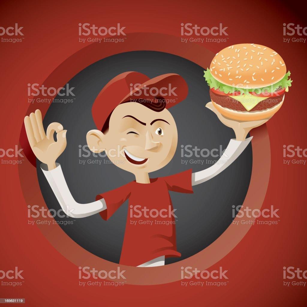 Hamburger boy vector art illustration