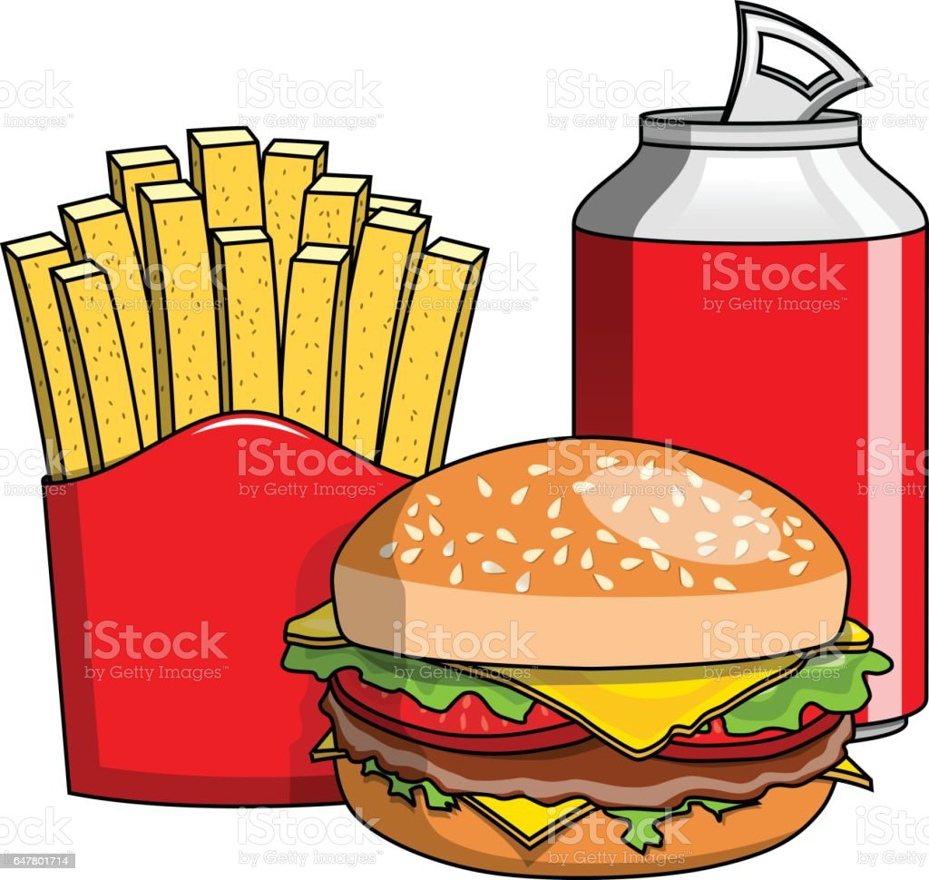 Hamburger french fries can isolated vector art illustration