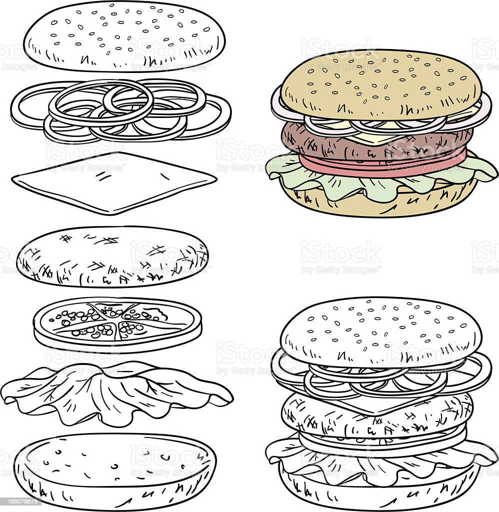 Hamburger ingredients in line art style royalty-free stock vector art