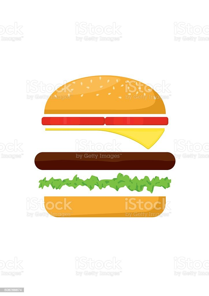 Hamburger ingredients meat, lettuce, cheese and tomato. Fast Food Vector vector art illustration