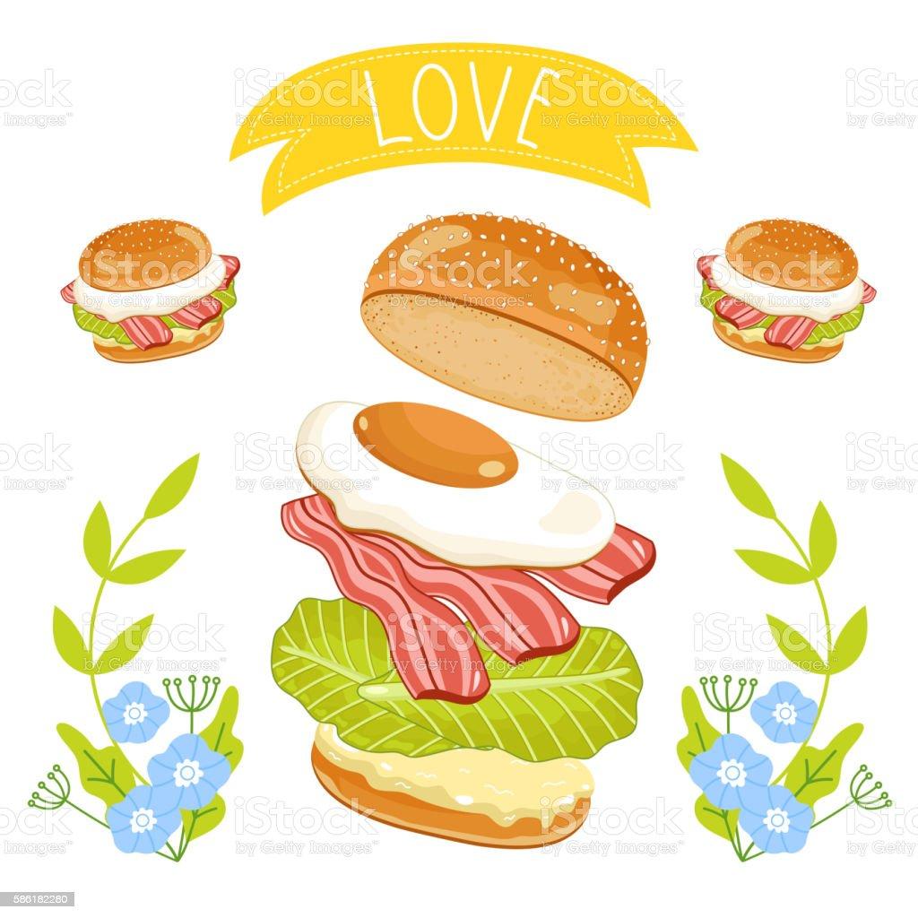 Hamburger ingredients on white background vector art illustration