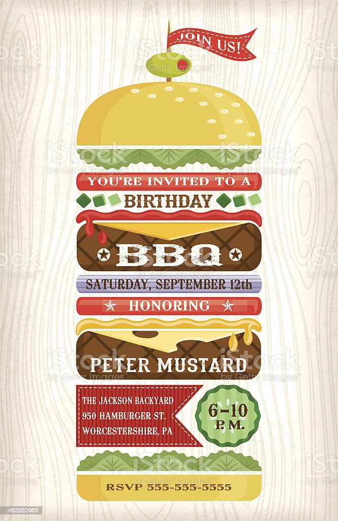 BBQ Hamburger Invitation royalty-free stock vector art