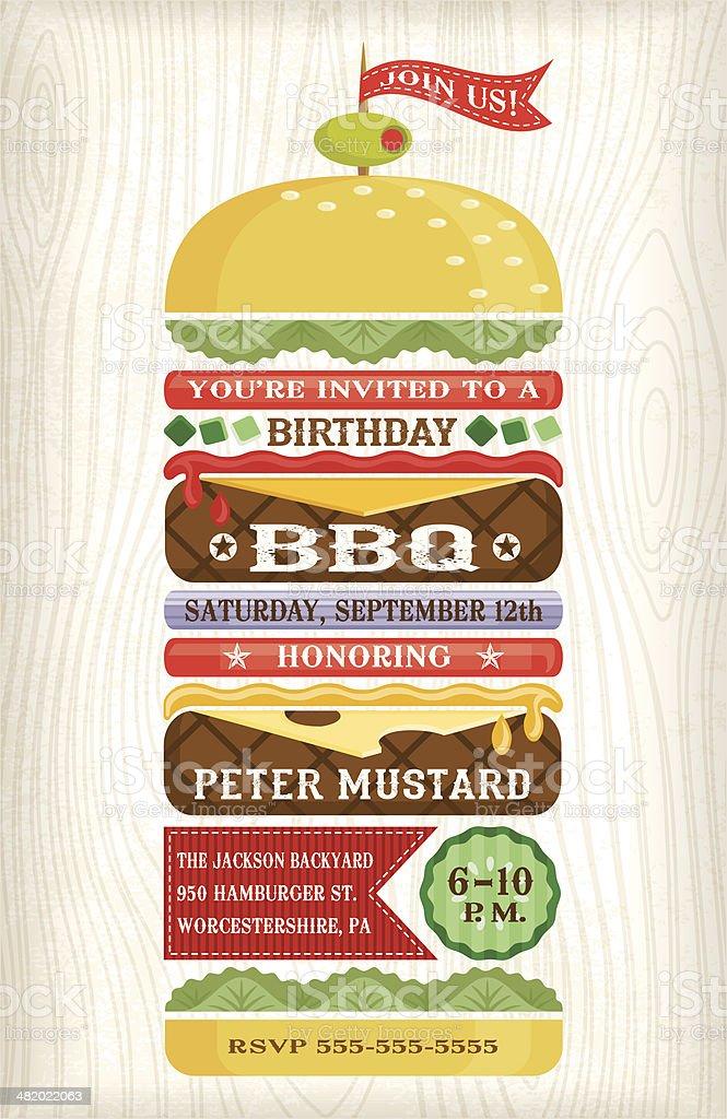 BBQ Hamburger Invitation vector art illustration
