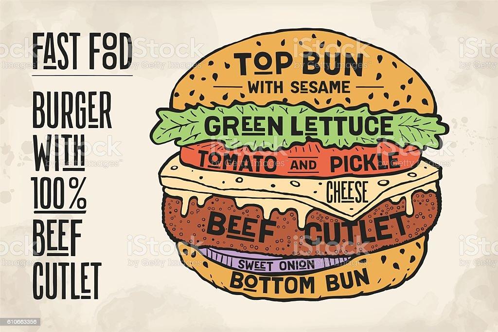 Hamburger or Burger with meat cutlet vector art illustration