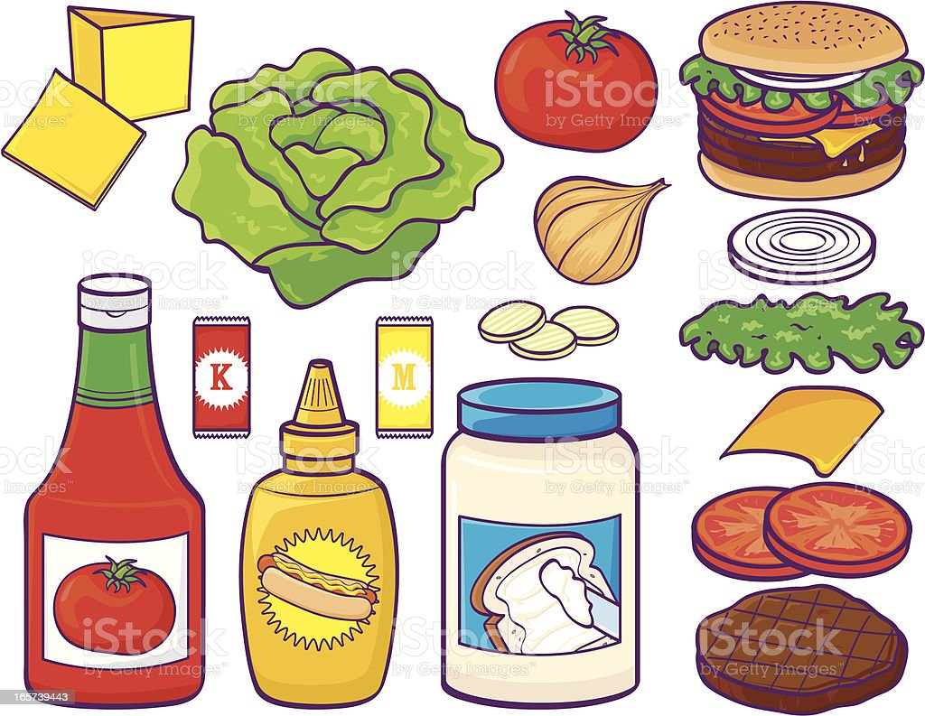 Hamburger set with condiments and stuff vector art illustration