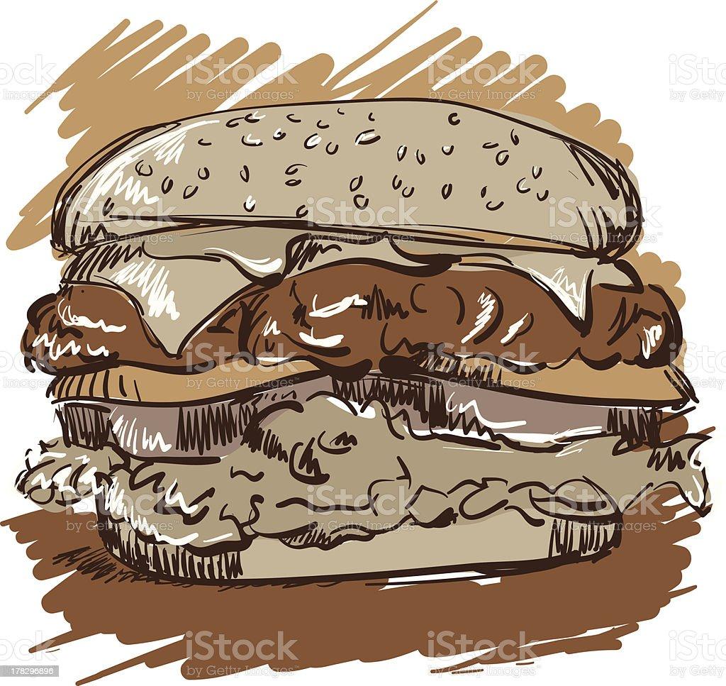 hamburger sketch vector art illustration