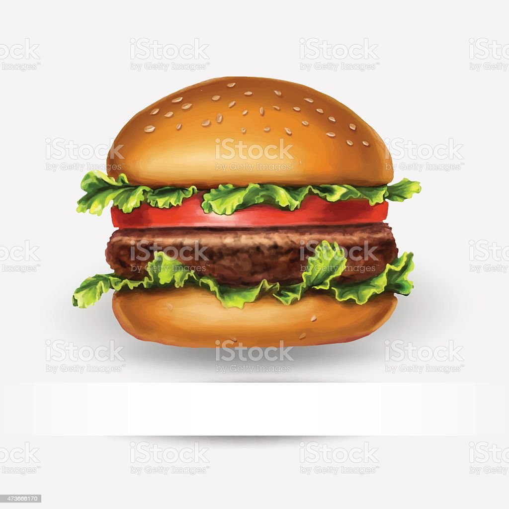 hamburger, vector, with space for text vector art illustration