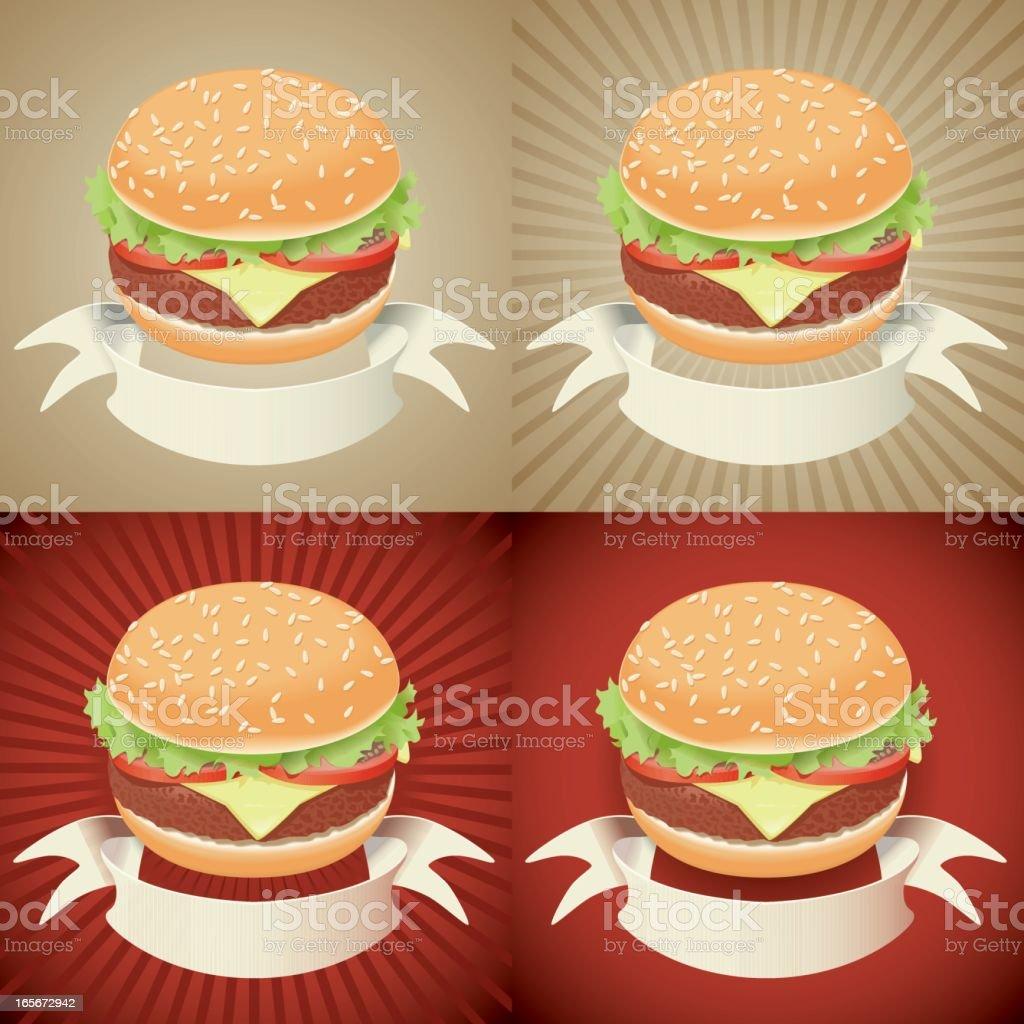 hamburger with banner vector art illustration