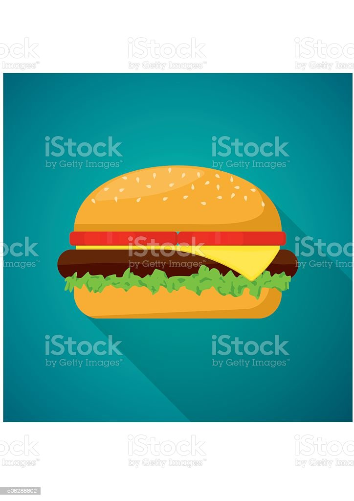 Hamburger with meat, lettuce, cheese and tomato. Fast Food Vector vector art illustration