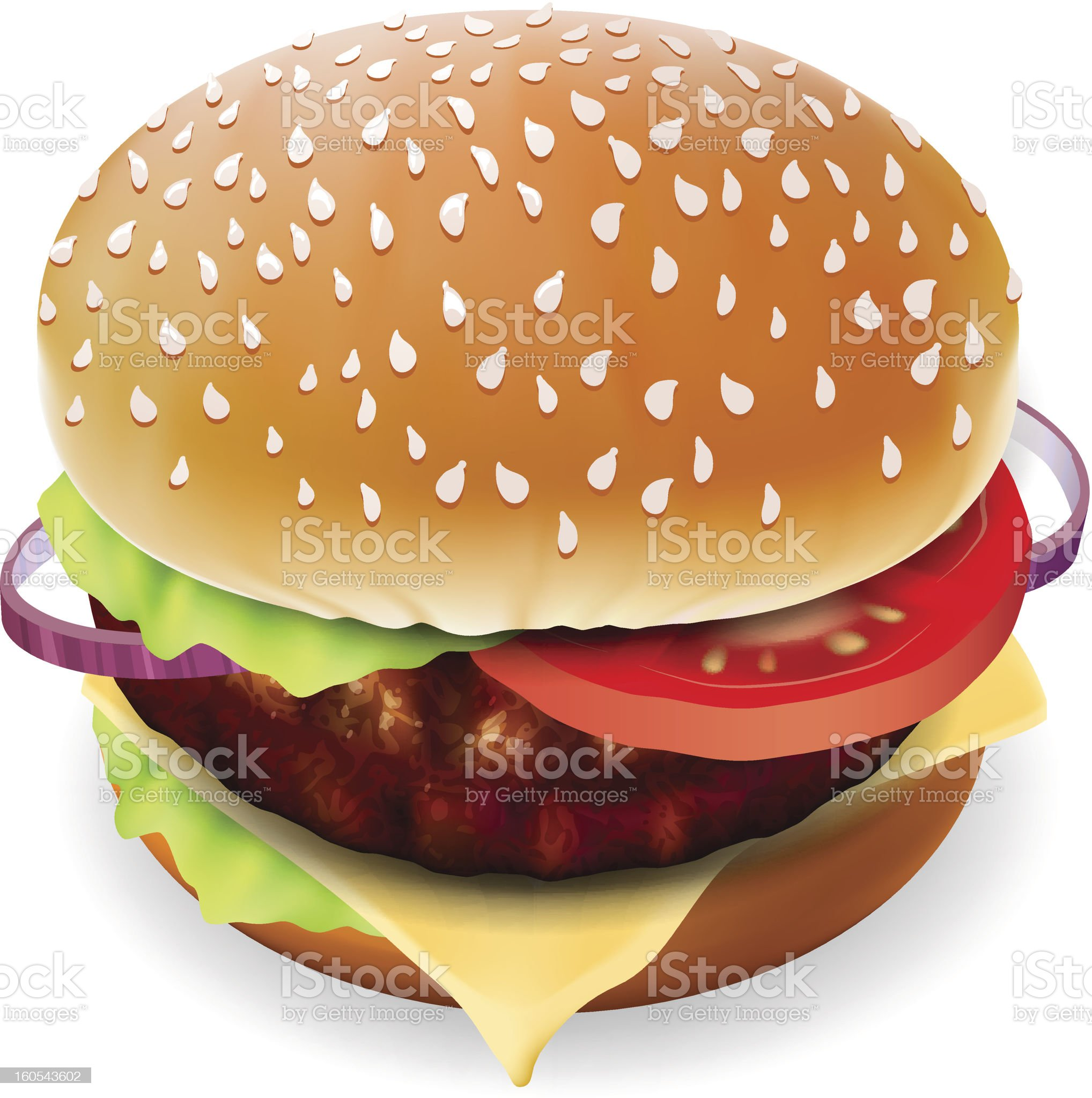 Hamburger with meat, lettuce, cheese and tomato. royalty-free stock vector art