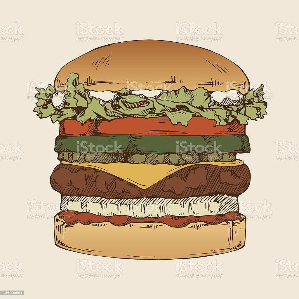 A hamburger with several other layers of ingredients vector art illustration