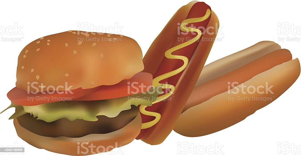 Hamburgers and hotdogs royalty-free stock vector art