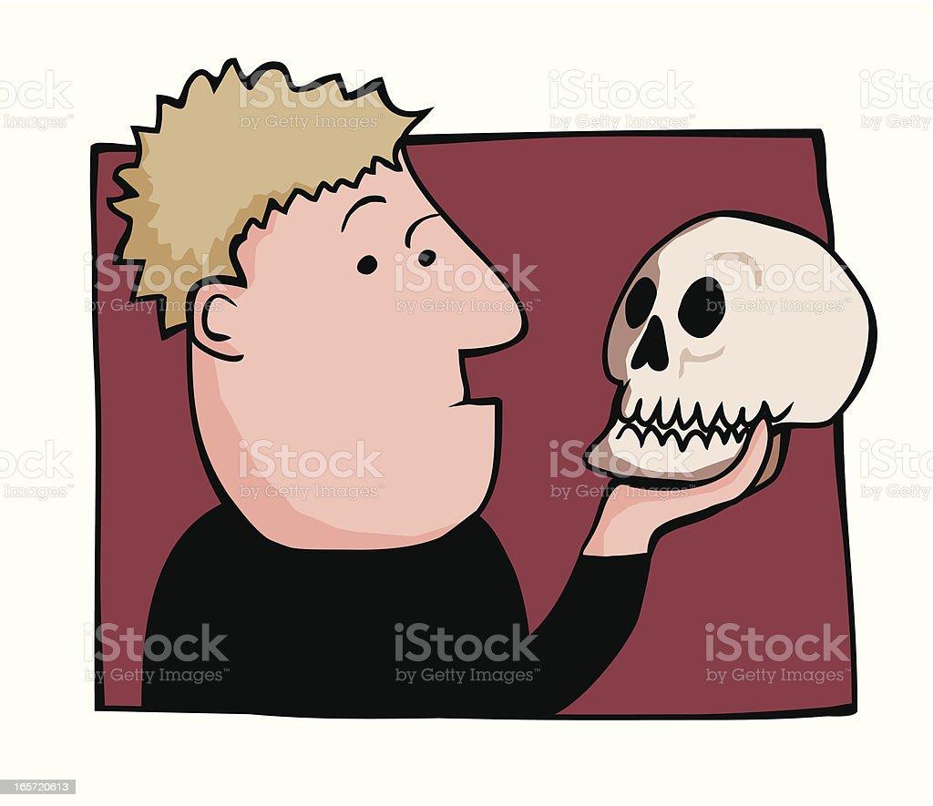 Hamlet and Yorick royalty-free stock vector art
