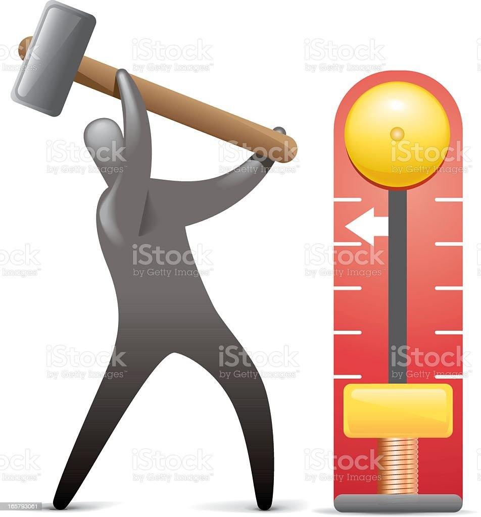 Hammer and Bell Strength Test royalty-free stock vector art