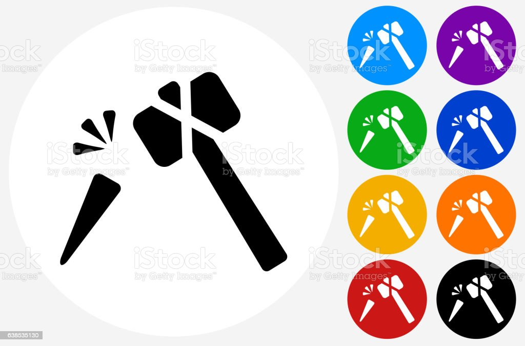 Hammer and Chisel Icon on Flat Color Circle Buttons vector art illustration