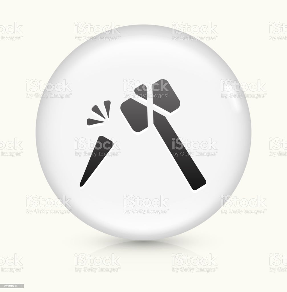 Hammer and Chisel icon on white round vector button vector art illustration