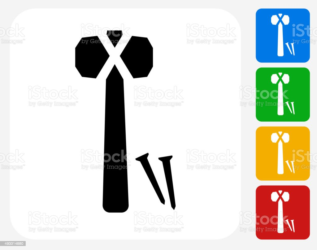 Hammer and Nails Icon Flat Graphic Design vector art illustration