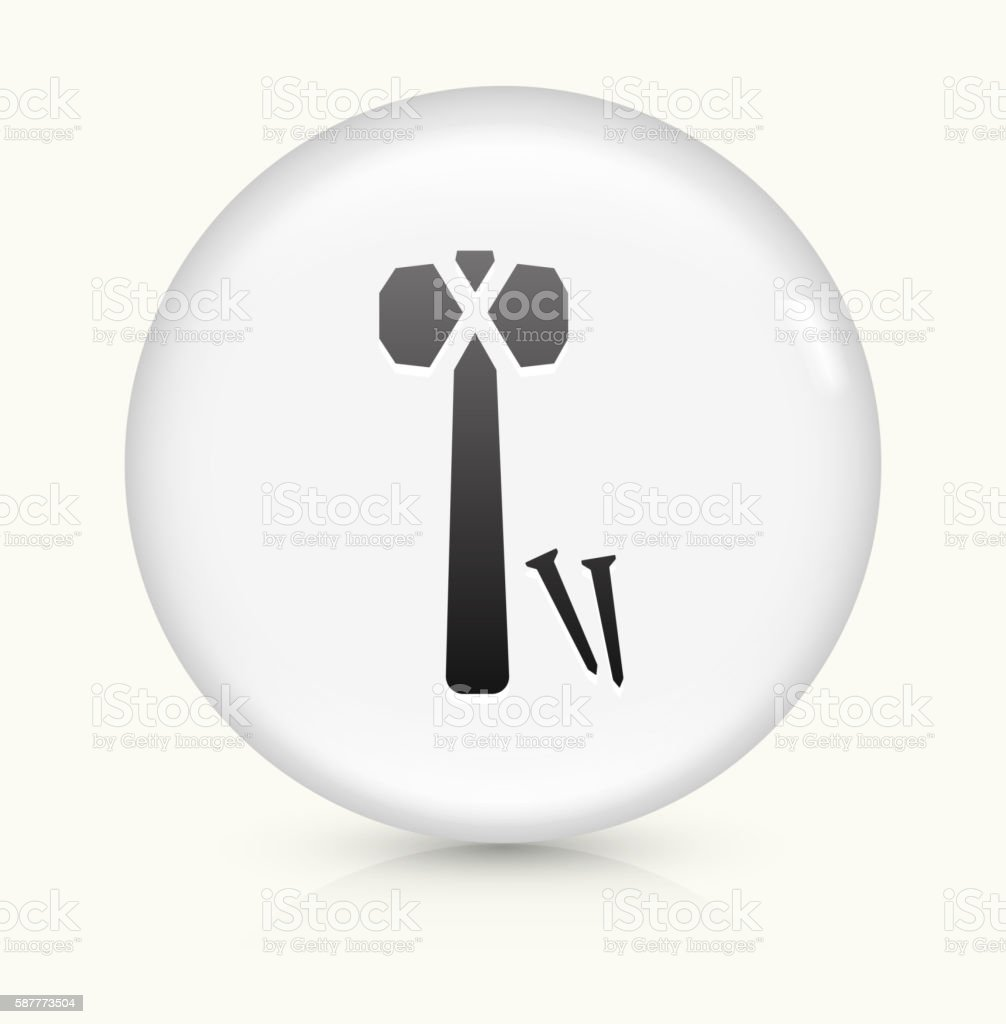Hammer and Nails icon on white round vector button vector art illustration