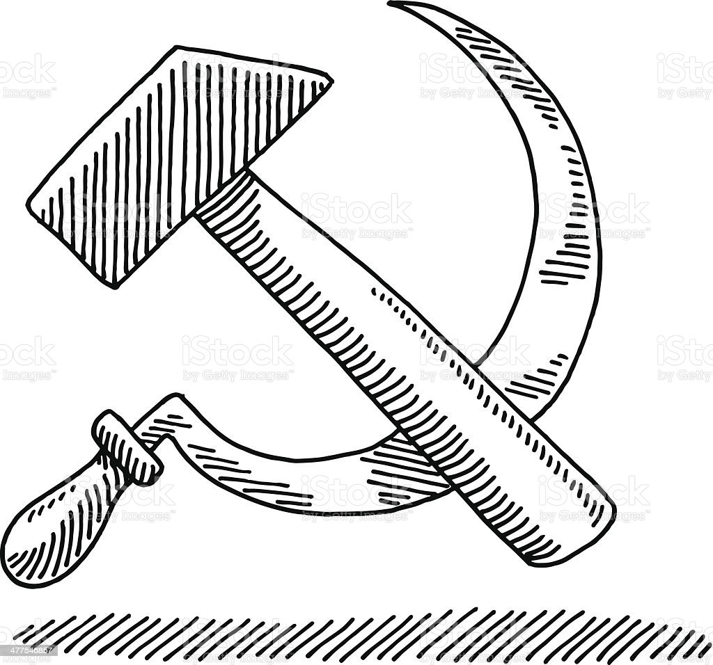 Hammer and sickle symbol drawing stock vector art