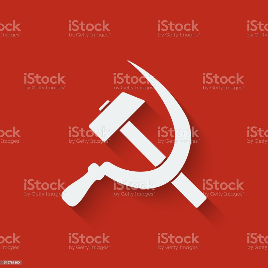 hammer and sickle symbol vector art illustration