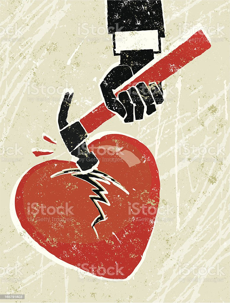 Hammer Breaking a Heart royalty-free stock vector art
