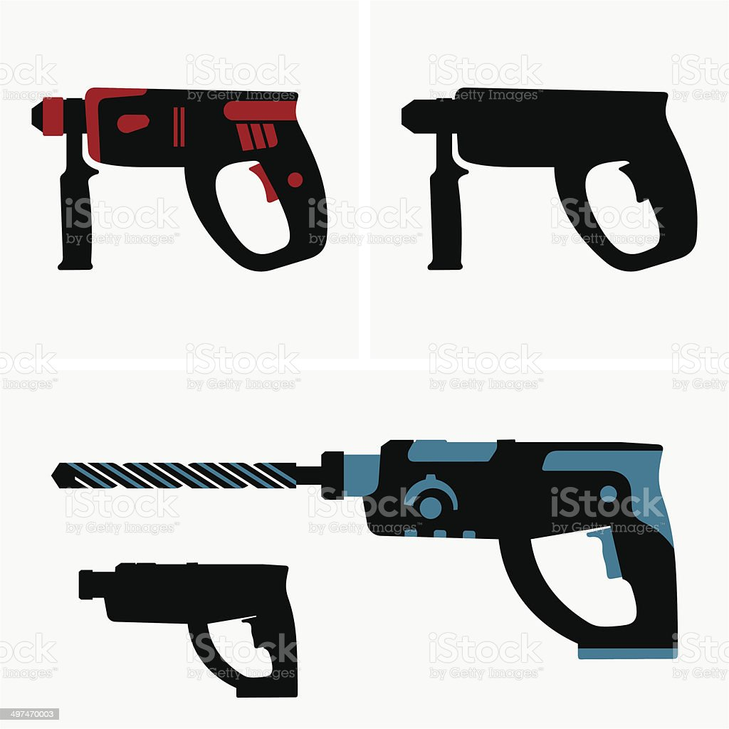 Hammer drill vector art illustration