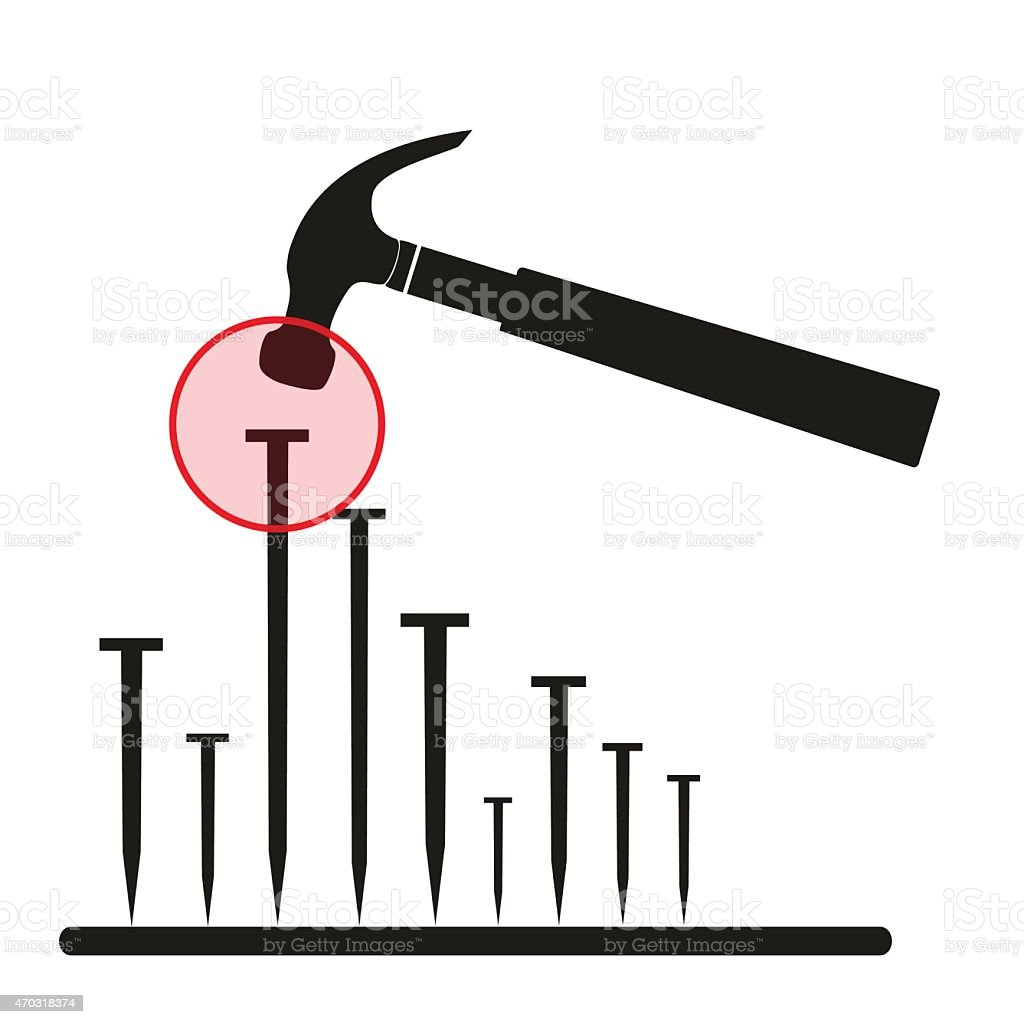 hammer hit nails directly on the head  eps10 vector art illustration