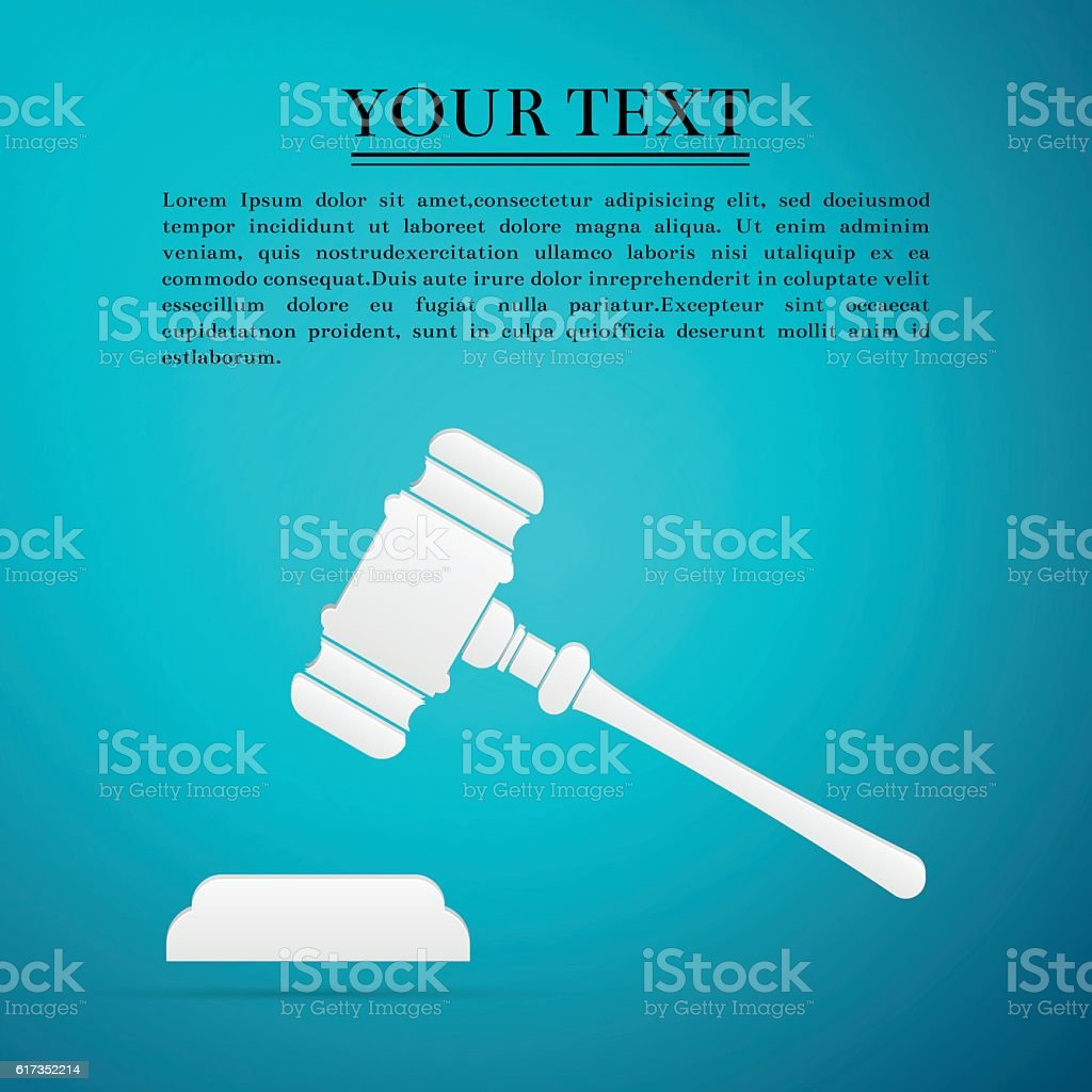 Hammer of judge or auctioneer flat icon on blue background vector art illustration